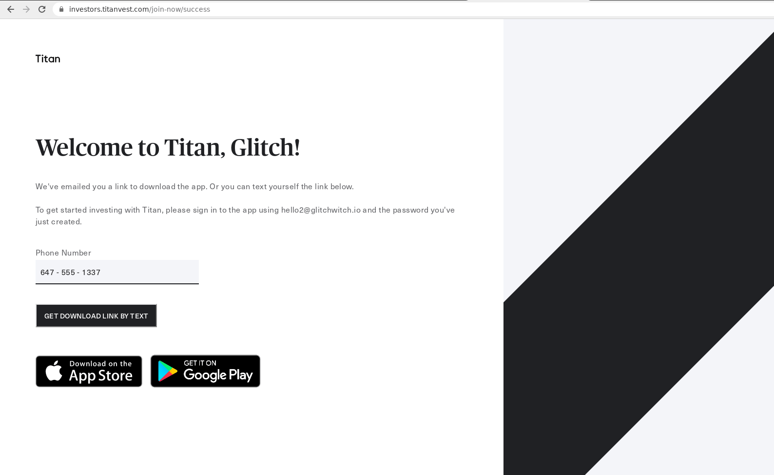 Screenshot of titanvest.com/join-now/success